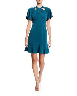 MICHAEL Michael Kors Twist-Neck Short-Sleeve Mini Dress