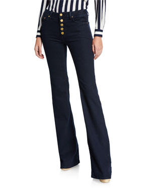 MICHAEL Michael Kors Selma Button-Front Flare Jeans