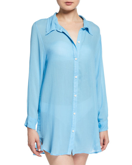 Eberjey Summer of Love Jack Button-Front Coverup
