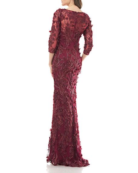 Carmen Marc Valvo 3D Petal Embellished V-Neck 3/4-Sleeve Novelty Gown