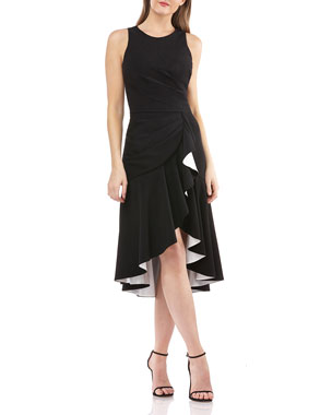 739b5c56a876fb Carmen Marc Valvo Infusion Sleeveless High-Low Cocktail Dress w/ Contrast  Lined Ruffle. Favorite. Quick Look