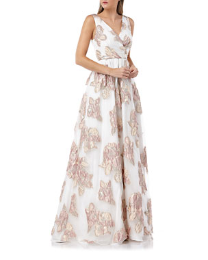 d86f17142961a Carmen Marc Valvo Infusion Surplice Metallic Floral Embellished Sleeveless Organza  Ball Gown