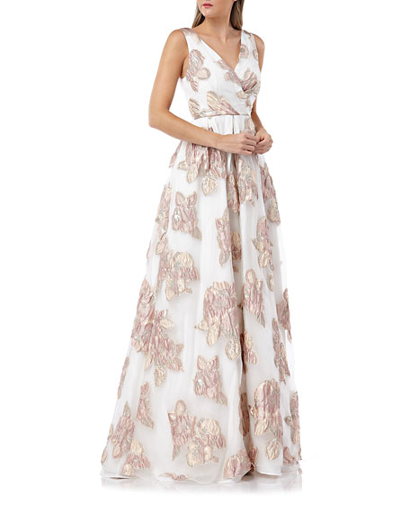 Carmen Marc Valvo Infusion Surplice Metallic Floral Embellished Sleeveless Organza Ball Gown