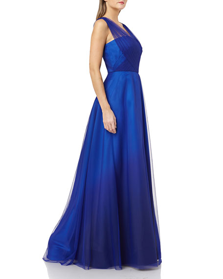 Carmen Marc Valvo Infusion Ombre Mikado Gown with Tulle Straps