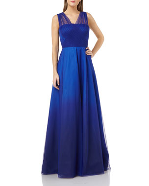 109f0c85b73f Carmen Marc Valvo Infusion Ombre Mikado Gown with Tulle Straps