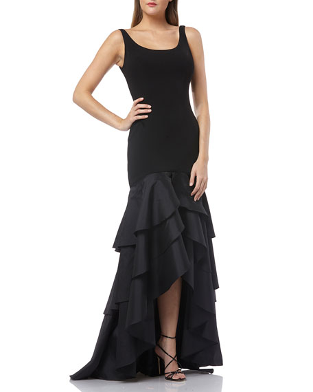 Carmen Marc Valvo Infusion Scoop-Neck Sleeveless Crepe Gown w/ Taffeta High-Low Ruffle Skirt