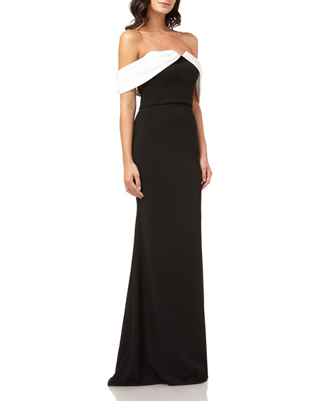 Carmen Marc Valvo Infusion Colorblock Off-the-Shoulder Column Gown w/ Satin Draped Arms