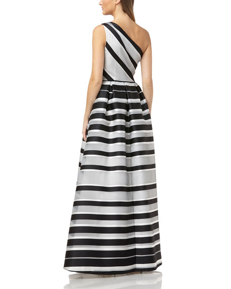 Carmen Marc Valvo Infusion One-Shoulder Striped Ball Gown