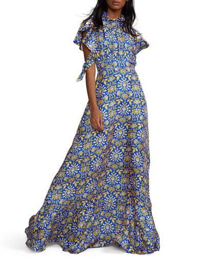 Talia Printed Flutter-Sleeve Silk Maxi Dress