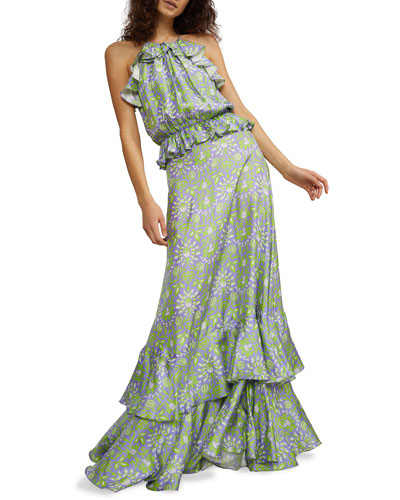 Willow Creek Tiered Ruffle Halter Dress