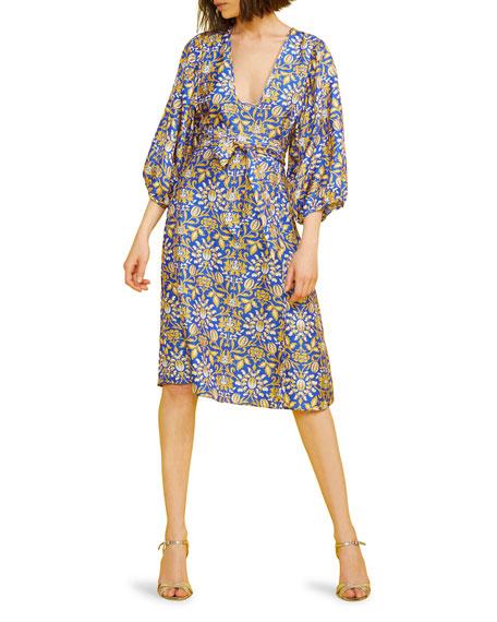 Cynthia Rowley Daley Tie-Waist Blouson-Sleeve A-Line Silk Dress