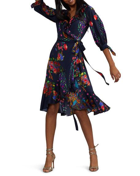 Cynthia Rowley Roseland Printed 3/4-Sleeve Ruffle Wrap Dress