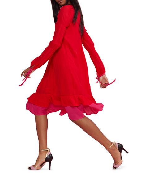 Cynthia Rowley Isa Pintuck Long-Sleeve Ruffle Hem Dress