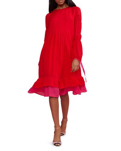 Isa Pintuck Long-Sleeve Ruffle Hem Dress