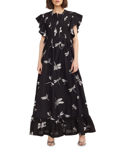Nairobi Dragonfly Flutter-Sleeve Caftan Dress