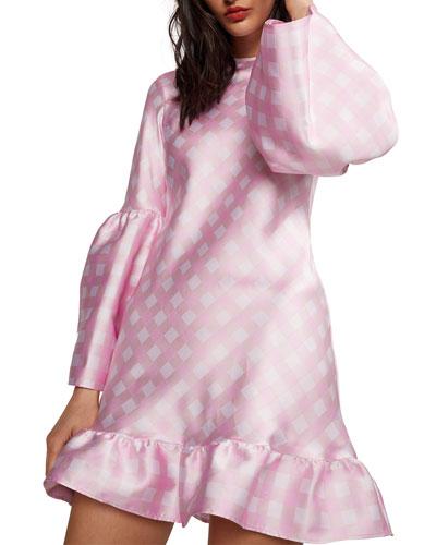 Jane Gingham Bell-Sleeve Short Ruffle Dress