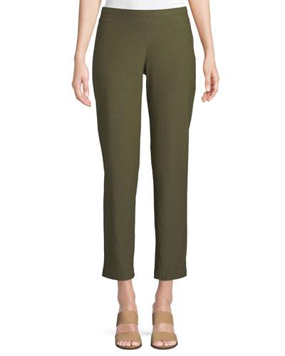 Plus Size Washable Stretch-Crepe Slim Ankle Pants