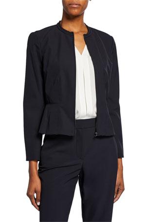 Rebecca Taylor Ava Zip-Front Peplum Jacket