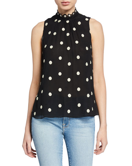 Rebecca Taylor Sleeveless Dot-Embroidered Silk Blouse