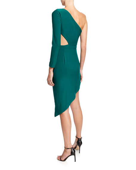 SHO One-Shoulder Asymmetric Jersey Cutout Dress