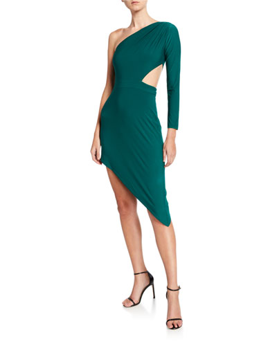 One-Shoulder Asymmetric Jersey Cutout Dress