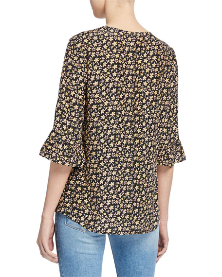 Rebecca Taylor Louisa Floral-Print 3/4-Sleeve Top