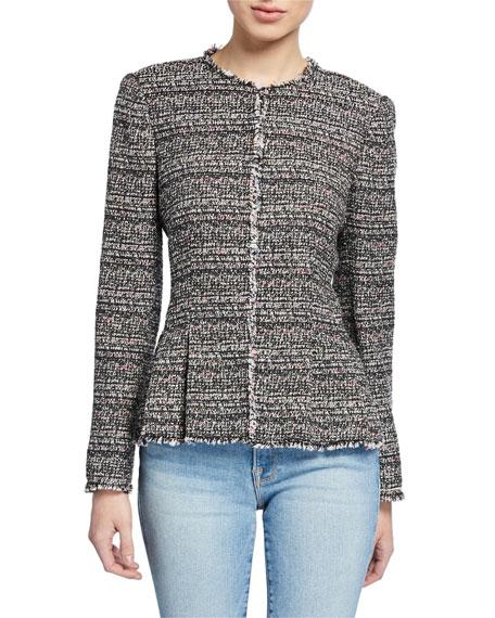 Rebecca Taylor Collarless Tweed Peplum Jacket