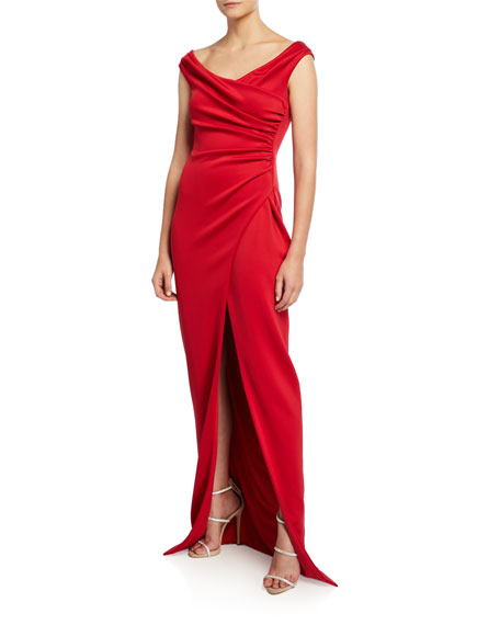 Black Halo Flora Mock-Wrap Sleeveless Gown with Front Slit