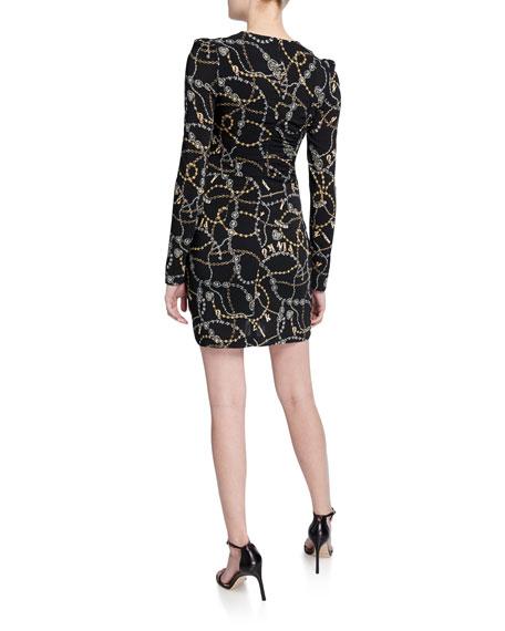 PINKO Chain-Print Ruched Long-Sleeve Mini Dress