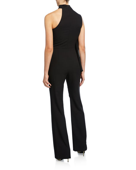 Black Halo Abby One-Shoulder Sleeveless Jumpsuit with Cape
