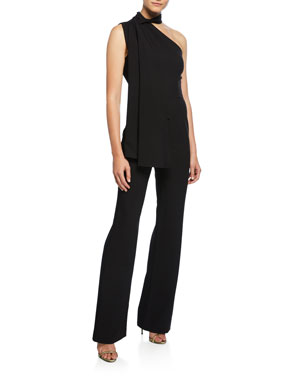 1f124c10 Black Halo Abby One-Shoulder Sleeveless Jumpsuit with Cape