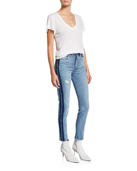 Image 3 of 3: Hudson Barbara High-Rise Skinny Jeans with Side Seam Detail