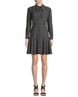 b527c3d42c07 Rebecca Taylor Tie-Neck Button-Front Long-Sleeve Sprinkle-Dot Silk Dress