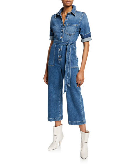 7 For All Mankind Alexa Cropped Denim Jumpsuit In Femme