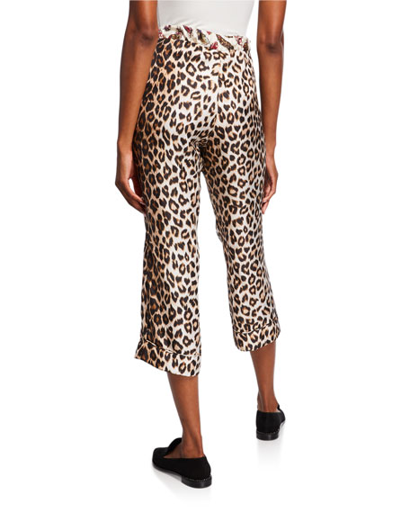 La Prestic Ouiston Miami Animal Print Silk Capri Pants