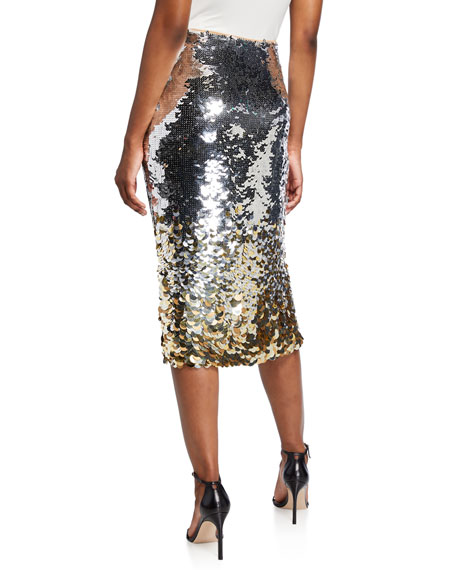 PINKO Metallic Paillette Midi Skirt