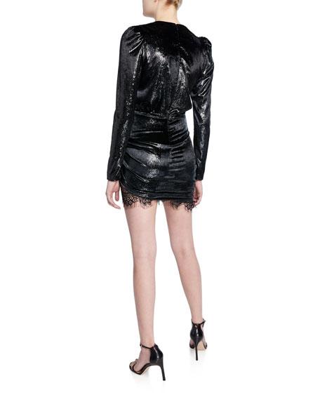 PINKO Shimmery Velvet & Lace Long-Sleeve Mini Dress