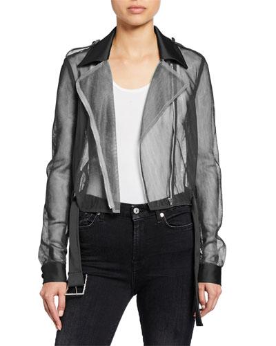 Sheer Tulle Cropped Moto Jacket