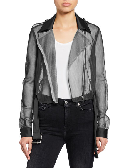 PINKO Sheer Tulle Cropped Moto Jacket