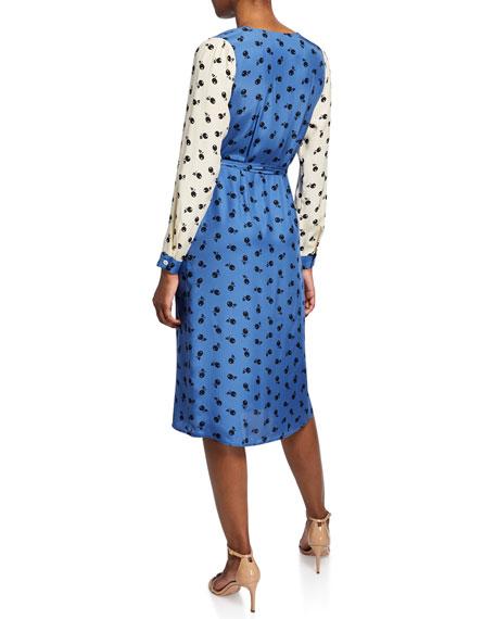 HVN Julia Long-Sleeve Wrap Dress