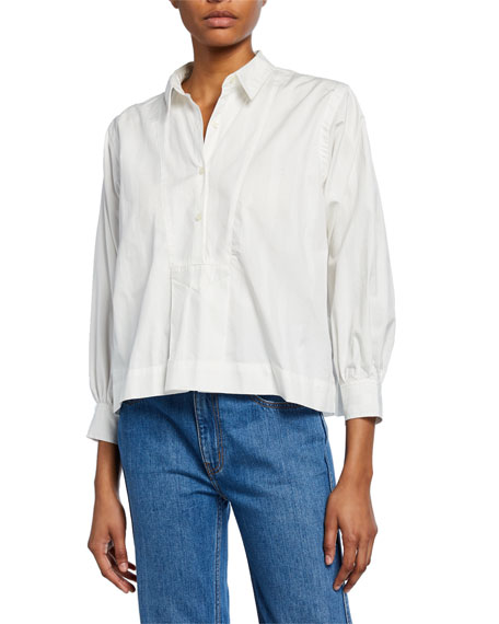 Current/Elliott The Emmy Button-Down Long-Sleeve Blouse