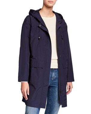 ff4ded6e2a5cc Eileen Fisher Organic Cotton/Nylon Hooded Long Raincoat