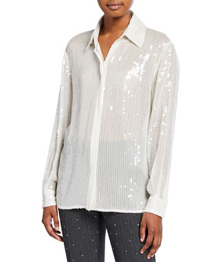 cb4277b9 PINKO Sequined Long-Sleeve Button-Down Top