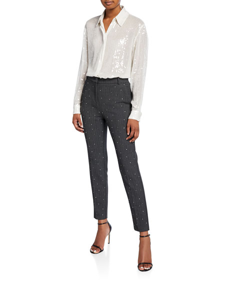 PINKO Tweed Ankle Trousers with Crystals