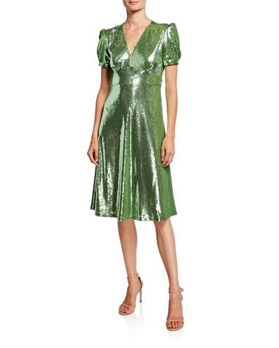 Paula Deep V-Neck Sequined Dress