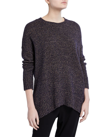Eileen Fisher Wool/Recycled-Cotton Oversized Sweater with Curved Hem