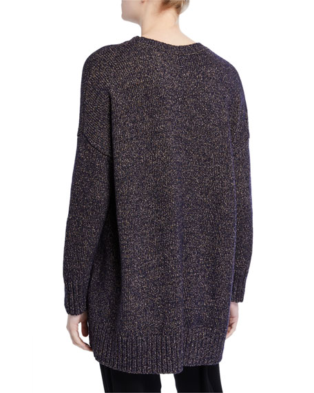 Eileen Fisher Petite Wool/ Recycled Cotton Curved-Hem Oversized Sweater