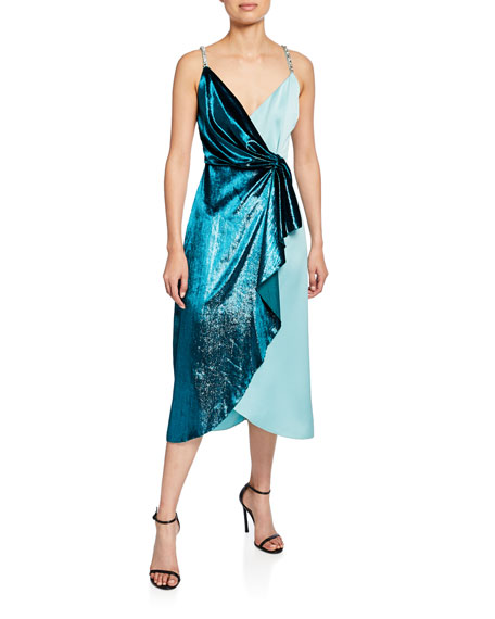 PINKO Two-Tone Draped Velvet Cocktail Dress