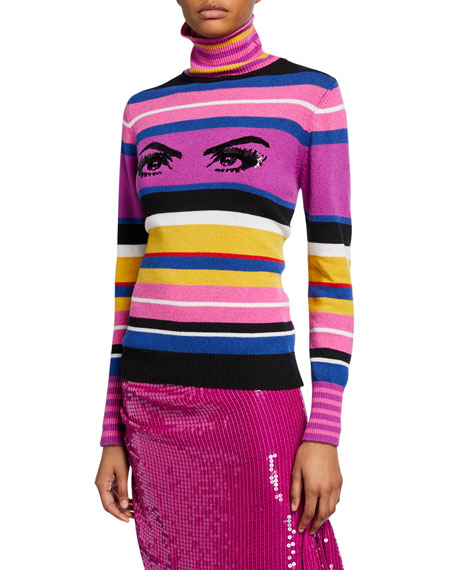 PINKO Striped Sequined Eye Turtleneck Sweater