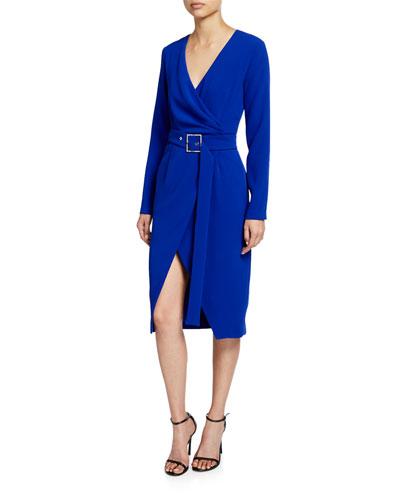 Long-Sleeve Crepe Wrap Midi Dress